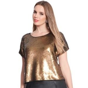 Size 14/16 Gold Brushed Sequin Crop Top